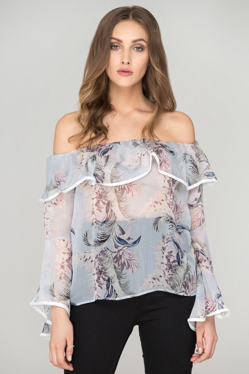 Sheer Floral off the shoulder Top- own the look