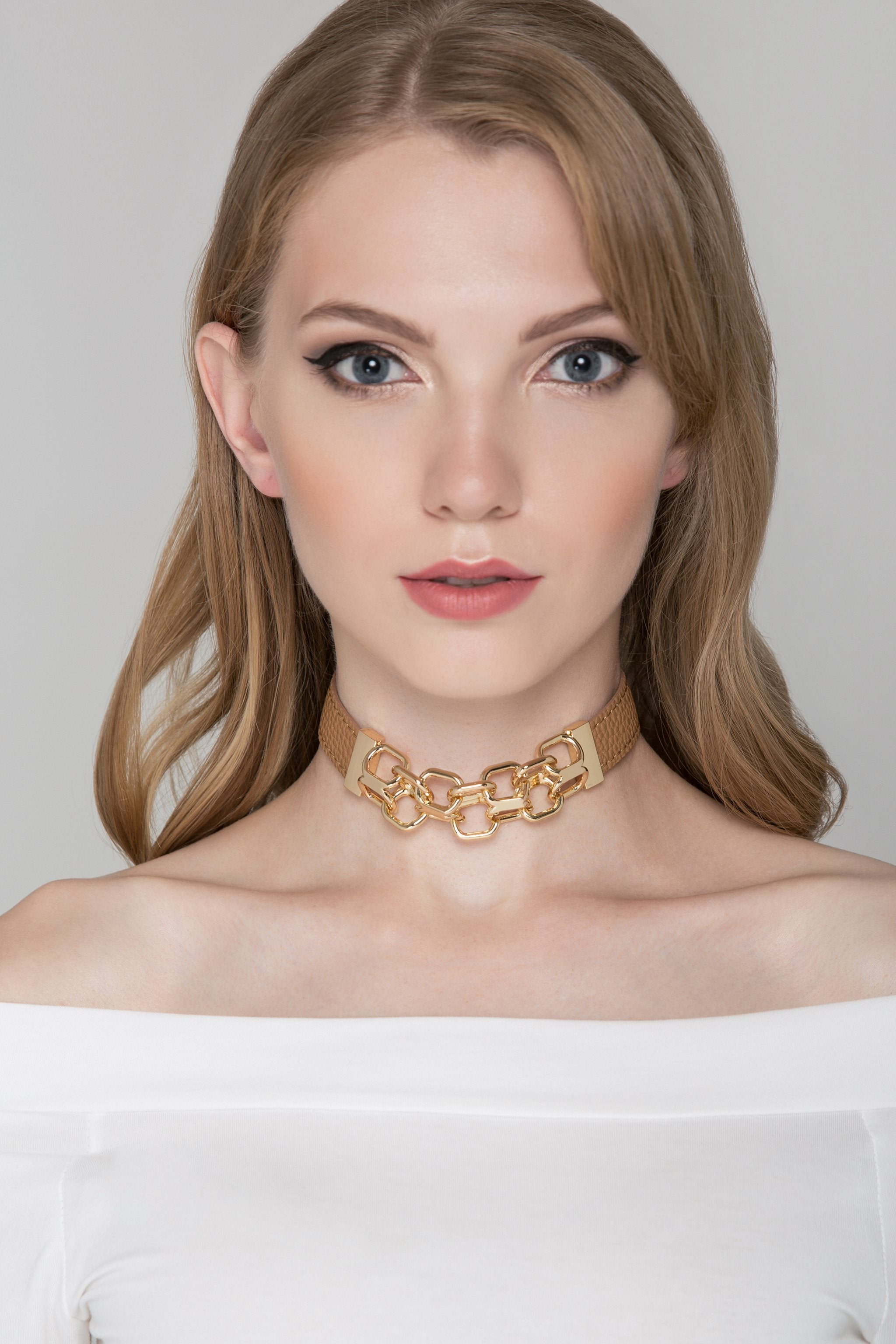 Tan Faux Leather and Gold Chain Detail Choker Necklace