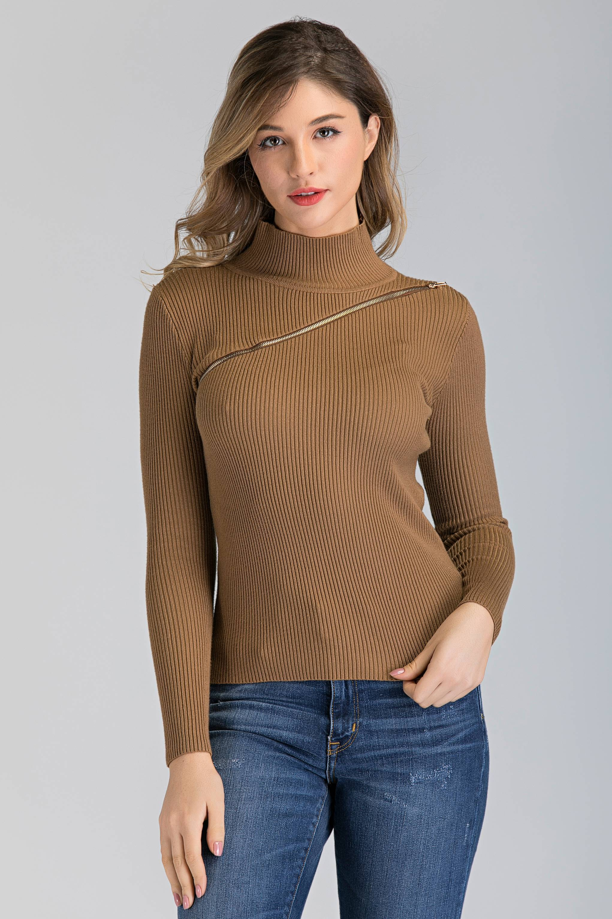Tan Knit Chest Zip Sleeved Top