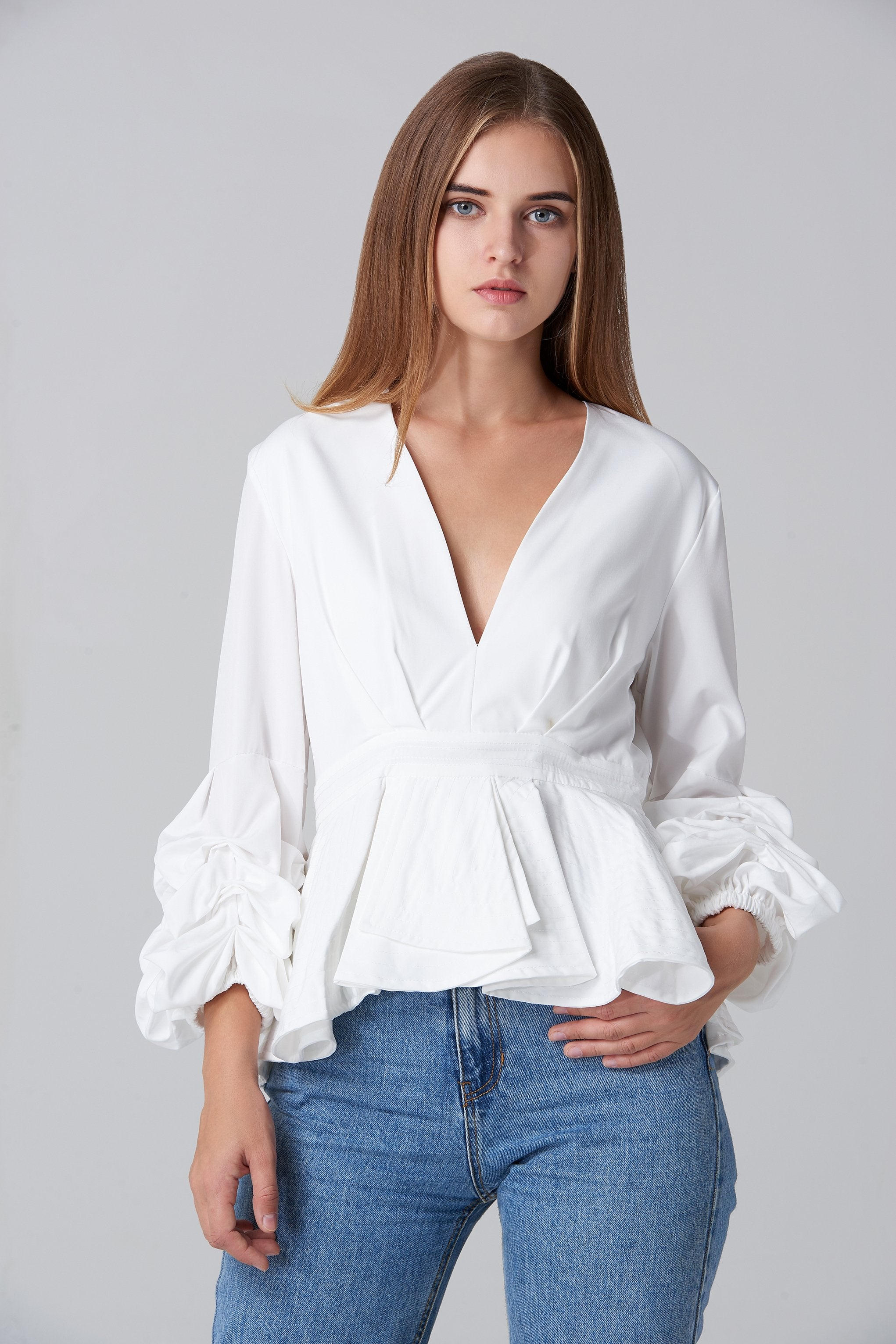 White Puff Sleeve Mullet Top -ownthelook