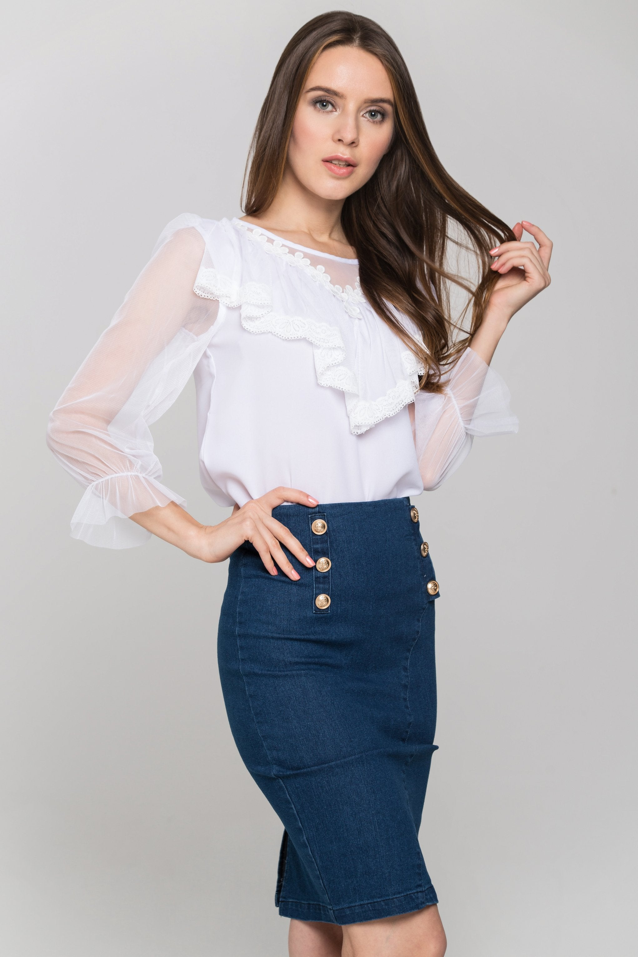 white-sheer-sleeves-gabot-top-and-denim-skirt-own-the-look