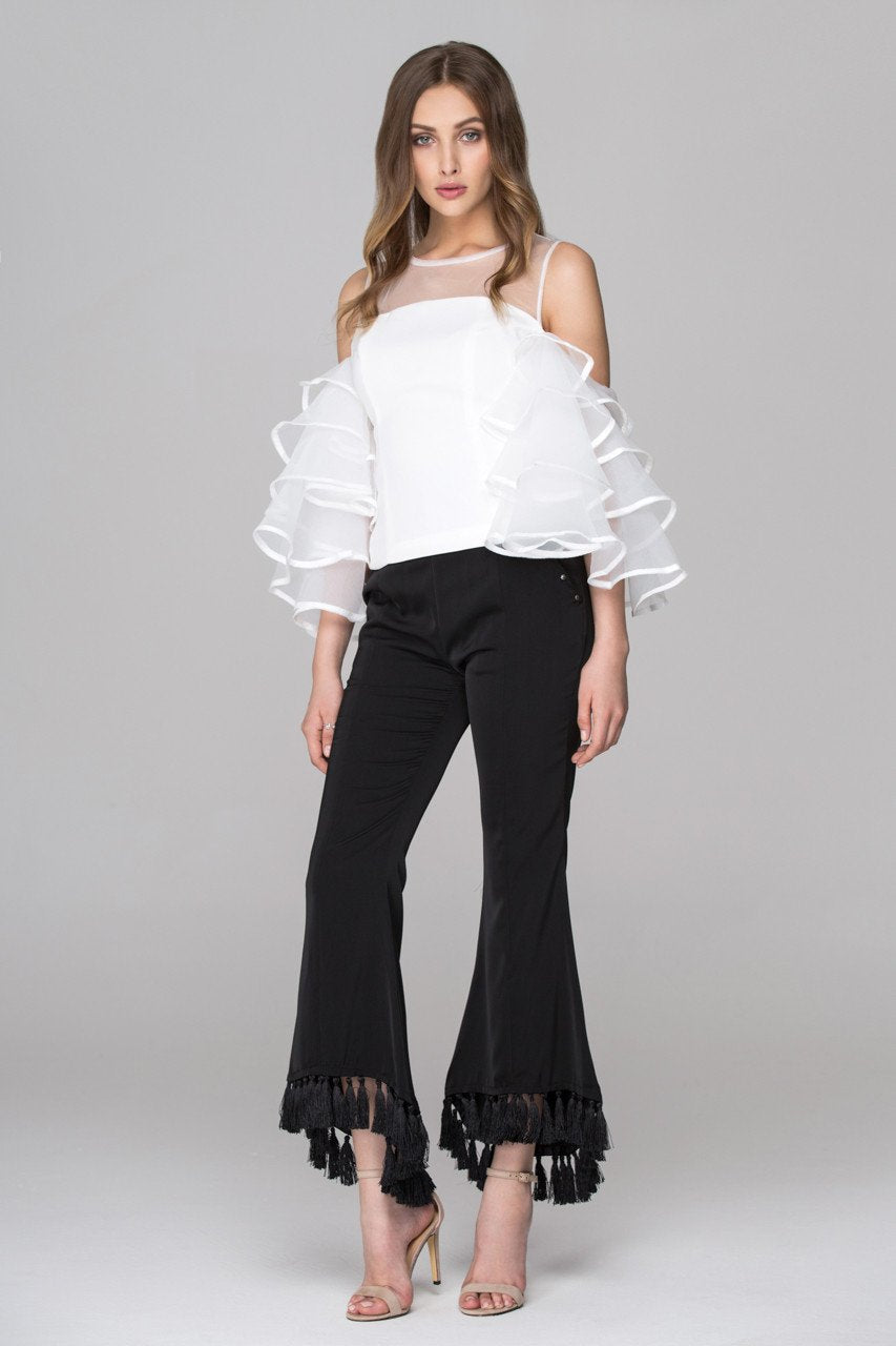 White Sheer Yoke Tiered Ruffle Sleeve Top - ownthelooks