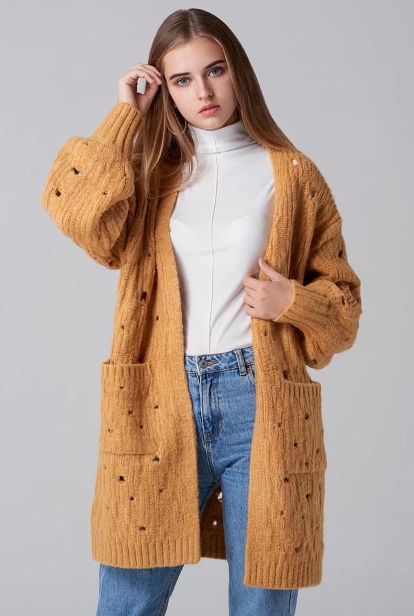 Beige_Distressed_Oversized_Cardigan