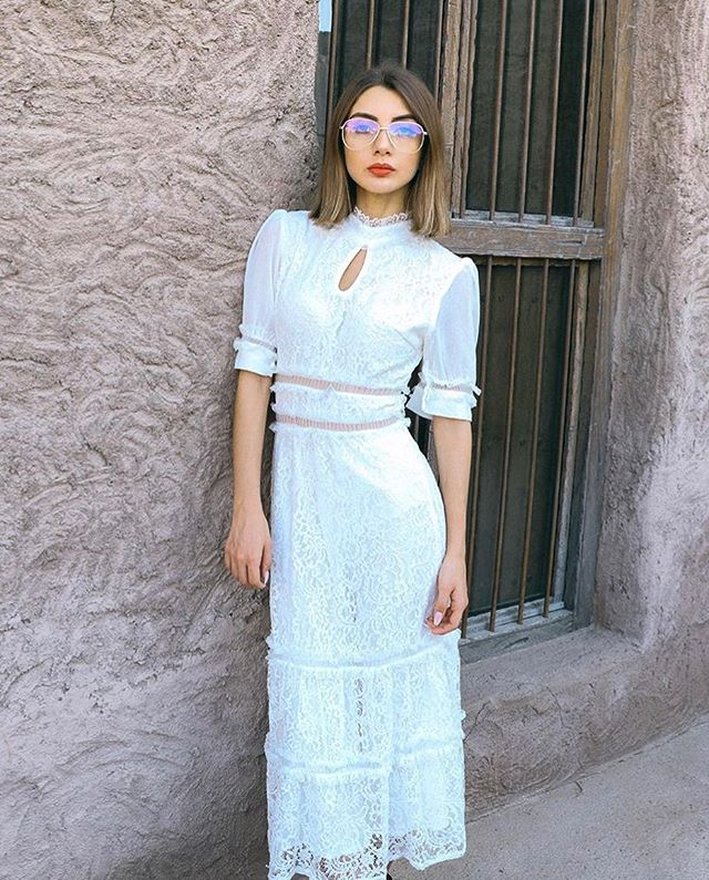 White Lace Ruffle Trim Midi Dress