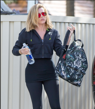 Khloe Kardashian sporting a chic Backpack