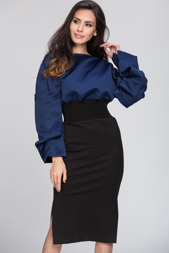Color Block Puff Sleeves Midi Dress