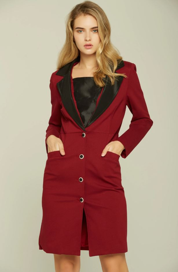 Red and Black Buttoned Royal Blazer Dress
