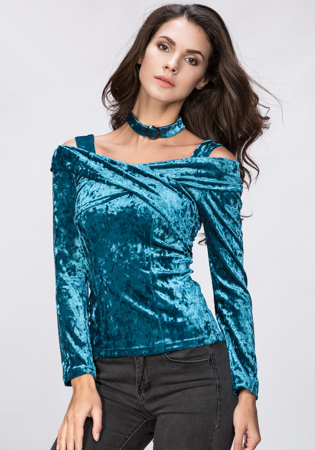 1f11432bc71953 OwnTheLooks. Turquoise Velvet Hot Choker Top