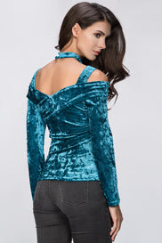 Turquoise Velvet Hot Choker Top