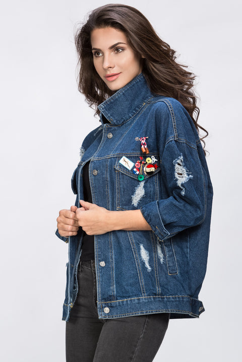 It Style Denim Jacket with Pins 121