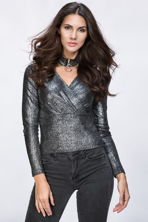 Metallic Ring Choker Top 221