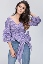 Funnel Checkered Wrap Top