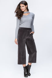 Grey Cropped Velvet Trousers