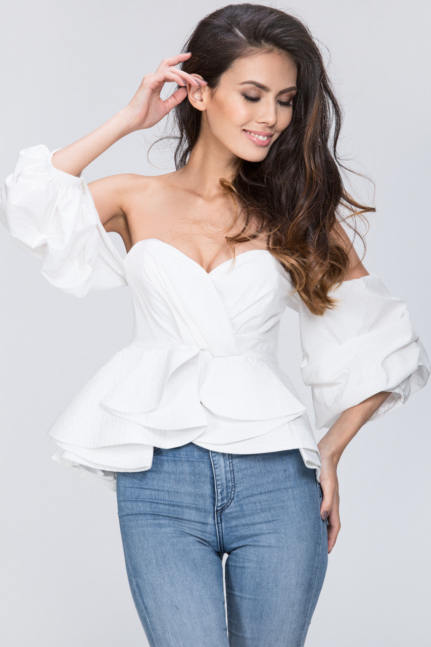 16ac74f3485 White Off the Shoulder Love Me Too Top – OwnTheLooks