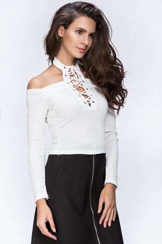 The Real Fouz - White Cold Shoulder Hot Top 73