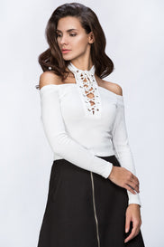 The Real Fouz - White Cold Shoulder Hot Top