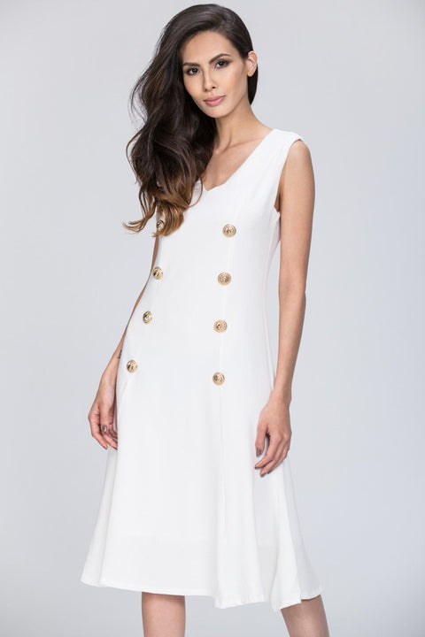 Mina Al Sheikhly - White Button Detail Breezy Dress 106