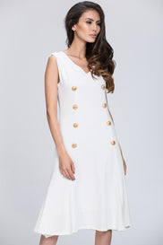 Mina Al Sheikhly - White Button Detail Breezy Dress