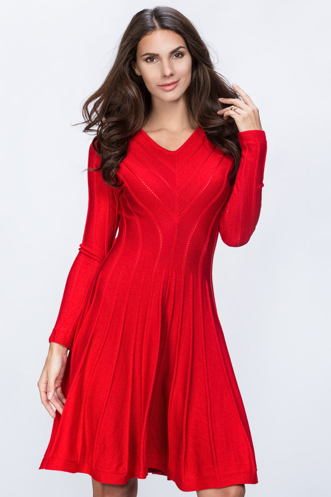 Red Princess Cut Midi Dress