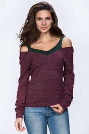 Off The Shoulder Strap Detail Woolly Top