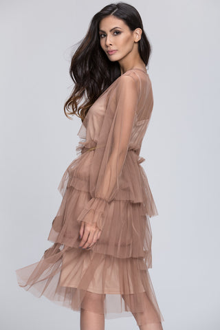 Mina Al Sheikhly - Nude Fluff Layered Dress 85