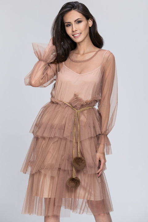 Mina Al Sheikhly - Nude Fluff Layered Dress 74