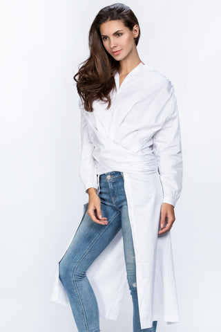 Dana Al Tuwairsh - White Wrap Around Blouse 64