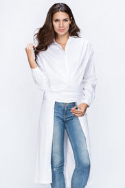 Dana Al Tuwairsh - White Wrap Around Blouse