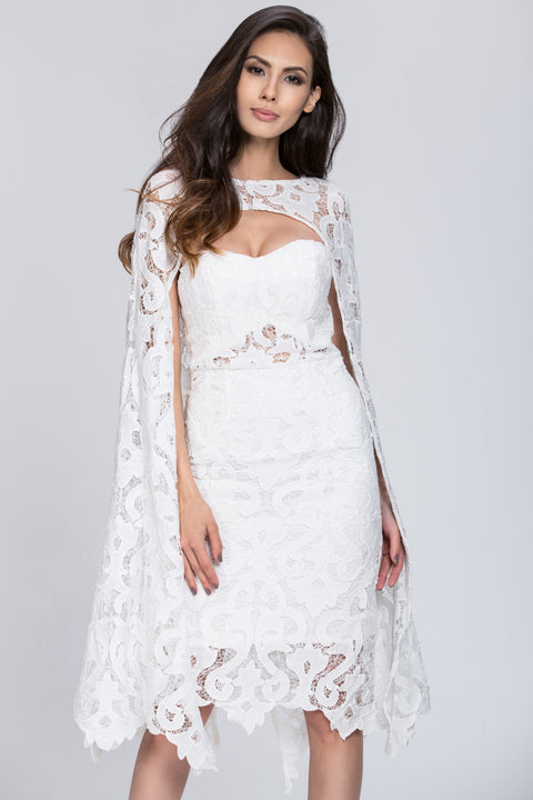 Deema Al Asadi - 2 piece Lace Detail Cape Set Dress 48
