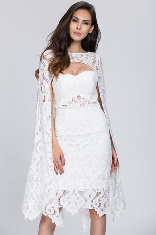 Deema Al Asadi - 2 piece Lace Detail Cape Set Dress 46