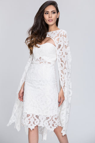 Deema Al Asadi - 2 piece Lace Detail Cape Set Dress 47