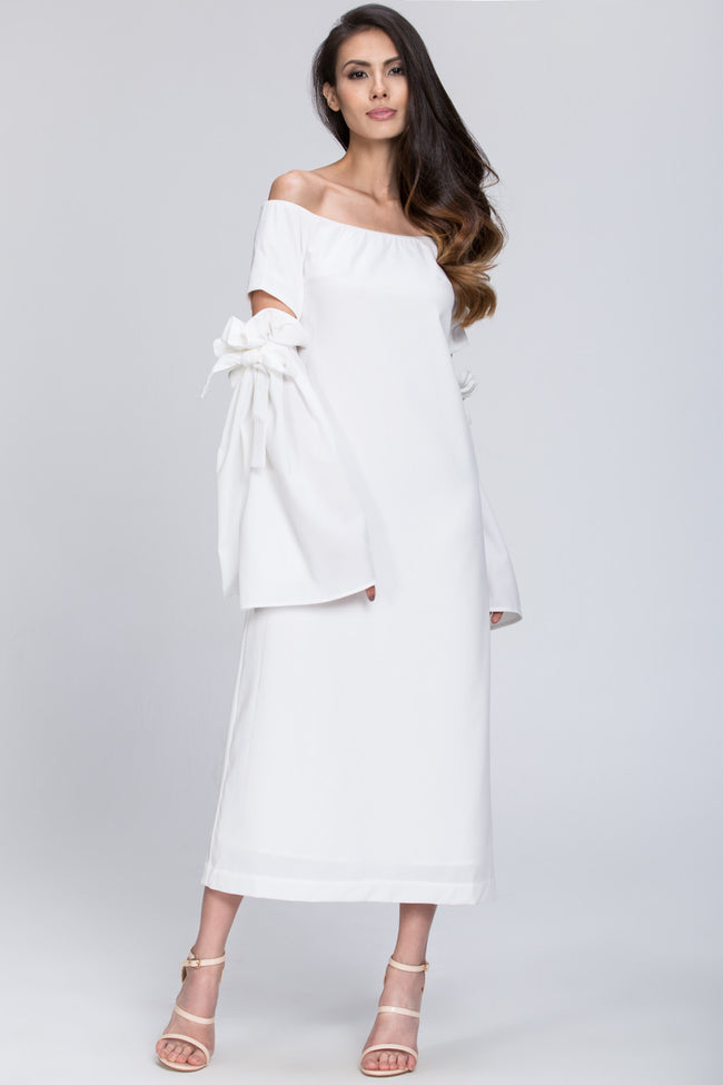White Bow Cut Out Sleeve Detail Midi Dress