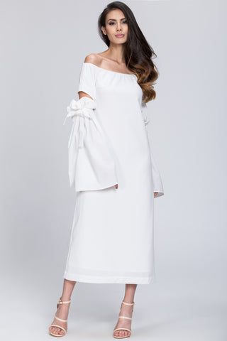 White Bow Cut Out Sleeve Detail Midi Dress 66
