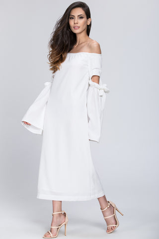 White Bow Cut Out Sleeve Detail Midi Dress 69