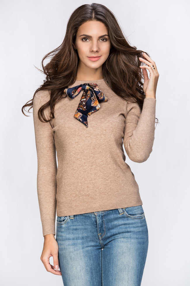 Brown Scarf Neck Woolly Top