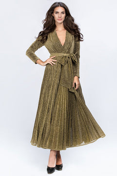 Dana AlTuwairsh - Gold Maxi Belt Detail Dress