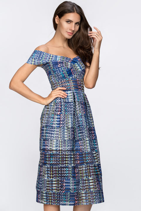Blue Pattern Off the Shoulder Midi Dress 160