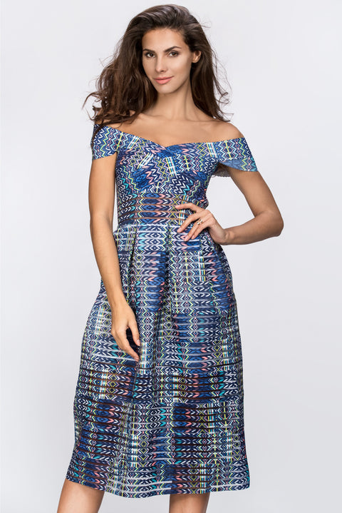 Blue Pattern Off the Shoulder Midi Dress 161