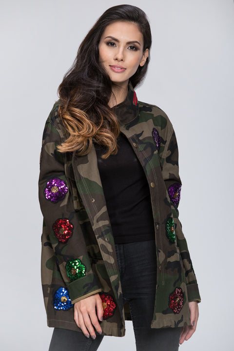 Deema Al Asadi - Sequined Detail Army Jacket