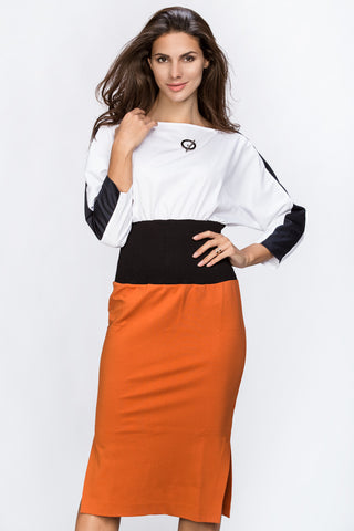 Dana AlTuwairsh - Waist Hugging Color Block Dress 37