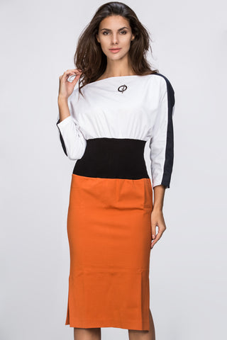 Dana AlTuwairsh - Waist Hugging Color Block Dress 40