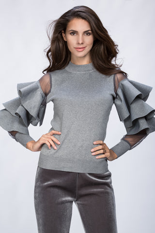 Rawan Bin Hussain - Ruffle Sleeve Cold Grey Top 17