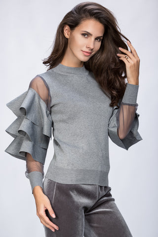 Rawan Bin Hussain - Ruffle Sleeve Cold Grey Top 16