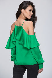 Mina Al Sheikhly - Emerald Green Off Shoulder Top