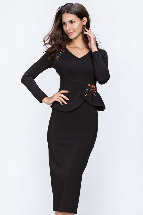 Rawan Bin Hussain - Black Encrusted Peplum Dress 140