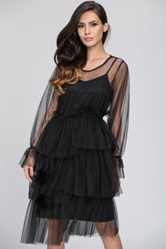 Mina Al Sheikhly - Black Nude Fluff Layered Dress
