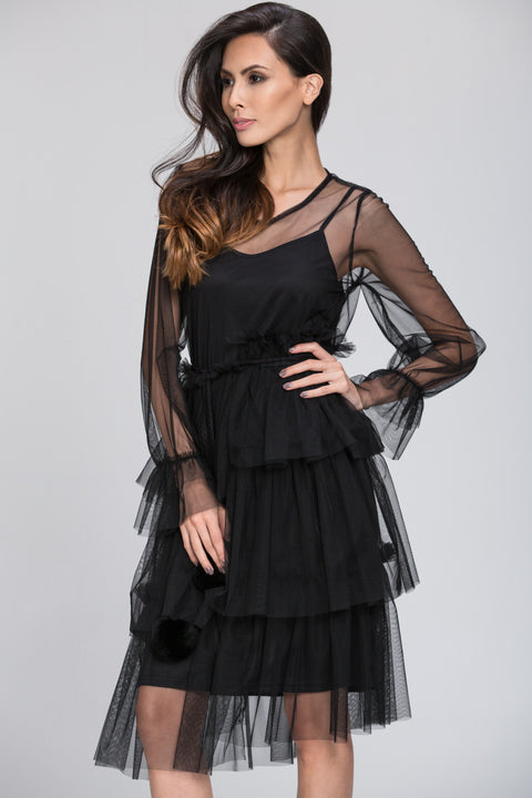 Mina Al Sheikhly - Black Fluff Layered Dress 103