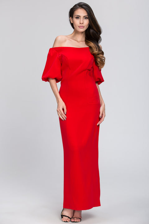 Off the Shoulder Silk Shine Evening Dress 112