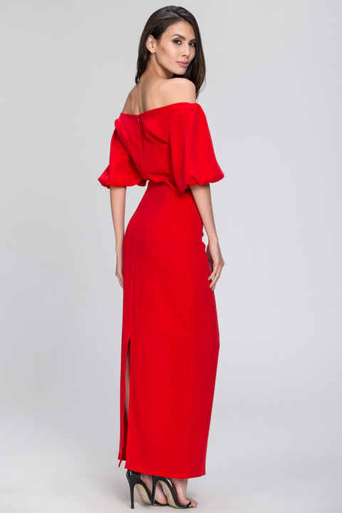 Red Off the Shoulder Silk Shine Evening Dress 113