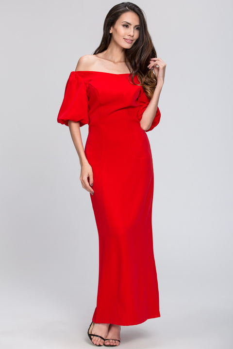 Red Off the Shoulder Silk Shine Evening Dress